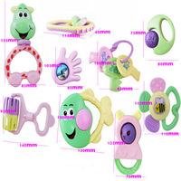 D19Wholesale 1Set of 9pcs Kids Baby Cute Animal Hand Bell Ring Musical Instruments Band Toys gift