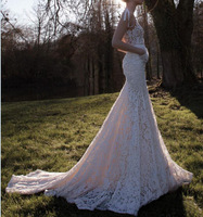 Sexy Backless Lace and See Through Fishtail Wedding Dresses with Long Trains 2014 V Neck Bridal Gowns With Long Train