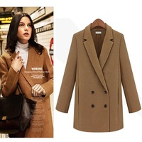 2014 Design New Spring/Winter Trench Coat Women Grey Medium Long Oversize Warm Wool Jacket European Fashion Overcoat 9848