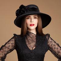 Gold velvet satin 2014 100% wool fedora wide brim hats for women ladies elegant fashion featured fedoras meeting church hat