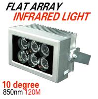 New Silver 10degrees LED Array IR Illuminator 120M  6pcs  Led IR Light Outdoor Waterproof for CCTV Camera