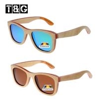 Fashion Beige Red Sport Sakteboard Wooden Sunglasses Men Women Brand Designer Polarized Lenses Coating Blue Film