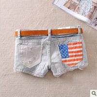 Female fashionable casual distrressed stripe flag print denim shorts gd446-8015 women's jeans