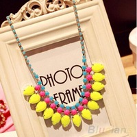 Women's Fashion 2014 Jewelry Sweet Acrylic Pendant Chain Choker Statement Bib Necklace