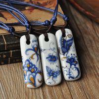 fashion ceramic accessories blue and white porcelain necklace national trend glaze color basic