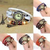 Fashion Vintage ladies women watches  Eiffel Tower Leather Bracelet Quartz  Watch 015H