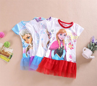 2014 new Frozen dress, cartoon girls dress, polyester cotton cake skirt. retail 4 color can choose suitable for 2-7 years old.