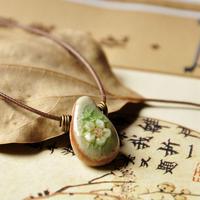 handmade necklace yellow crystal crack flower