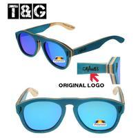 New Arrival 2015 Turquoise Skateboard Wood Men Women Sunglasses Brand Designer Polarized Caoting Blue Film Eyewear Luxury w Logo