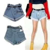 Shorts fashion vintage high waist denim shorts roll-up hem loose plus size bma131-1950