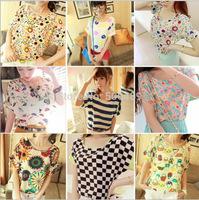 Korean fashion women's casual loose printed chiffon short sleeve T-shirt printing bat sleeve chiffon blouse large size
