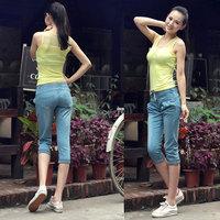 Elastic hem roll-up harem pants capris female denim capris shorts 2014 fl1097-808