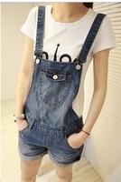 Female denim suspenders shorts loose plus size roll-up hem one piece bib pants for dxh401-8816