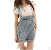 Loose plus size distrressed loose denim bib pants shorts female dsd129-1314 women's jeans Large size  S-XL