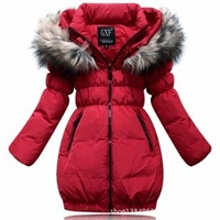 Cheapest size 110-150cm The new winter 2014 children's wear Girls down jacket in long thickening of the girls Plus size parka