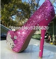 Free Shipping New 2014 Women Platform Pumps Thigh High Heels 16cm Hello Kitty Crystal Red Bottom Pumps Wedding Shoes
