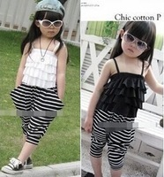 wholesale(5pcs/lot)- child summer  F-2611 girls striped suspenders
