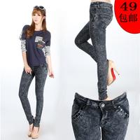 Women's dark color elastic pencil pants casual jeans  bh331-9918