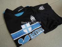 kids children Marseilles away jerseys 2014-15 top embroidery logo Marseilles away black soccer jerseys for children boys 16-28