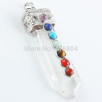 1Pc Rock Quartz Crystal Gem Stone Sword Taper Healing Chakra Pendant Charms Jewelry