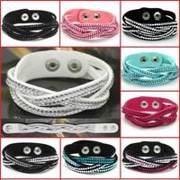 Hot Sales Rhinestone Bracelet And Leather Bracelet Charm Bracelet Style   Wholesale 14 Color Optional Free Transportation