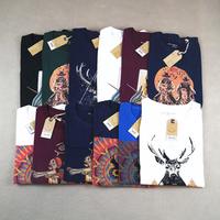 Water wash 100% cotton male fashion print o-neck fashion short simple slim tee t-shirt