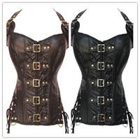 corpetes e espartilhos Coffee /Black  Buckle-up Steampunk Corset cinta modeladora slim New 2014 corset women sexy winter corsets