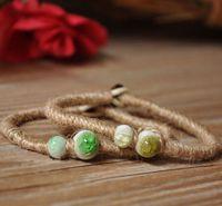 Jingdezhen ceramic jewelry handmade knitted bracelet unique twiner crystal crack bead