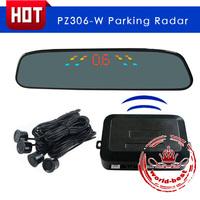 LED Wireless Car Electromagnetic Parking Sensor Backup Reverse RearView mirror Radar Alert Alarm System with 4 Sensors