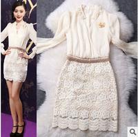 2014 New Fashion Luxury Long Sleeve Silk Bead Embroidery Dresses Slim Bandage Dress Brand Elegant Lace Short Party Evening Dress