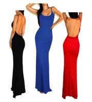 2014 New Sexy Women Strap Backless Jersey Minimalist Mermaid Open Back Slip Beach Casual Long Maxi Party Prom Dress Wholesale