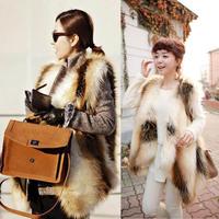 Winter Fashion Plus Size Faux Fur Vest Women Thick Fox Fur Coat Waistcoat Vest Fur Shawl Wrap Free Shipping & Drop shipping