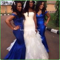 Fashion long bridesmaid dresses! Sexy sweetheart beautiful blue  dress handmade high quality graceful mermaid bridesmaid gowns