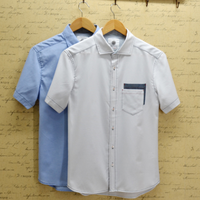 Male summer breathable cotton linen fabric Oxford silk cloth solid color pocket short sleeve shirt