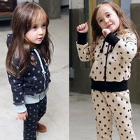 2014 Free shipping  autumn five-pointed star boys clothing girls clothing baby child sports set