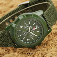 500pcs/lot Free Shipping Men's Sport  Canvas Belt Luminous Quartz Wrist Watch New Solider Military Army watch