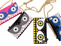 fashion Big eyes 3D cartoon Night Owl Blocks Handbag Silicon bag with Chain case cover for Apple iphone 5 5s cases