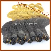 New 2014!!! brazilian virgin hair ombre products,wave #1b/27 3 bundles two tone human hair weave ombre brazilian hair 50g/pcs 6A