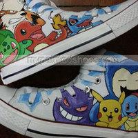 Pokemon High Top Shoes Canvas Sneaker Men/Women Hand Painted Cartoon Shoes