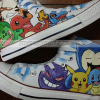 Pokemon High Top Shoes Canvas Sneaker Men/Women Hand Painted Cartoon Shoes