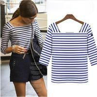 Blusas Femininas 2014 European And American Style Tops For Women Plus Size Three Quarter Striped Novelty T-Shirt 5758