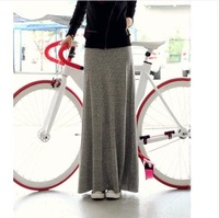 2014 Spring Summer Soft Cotton Casual Women Skirt Long Korean Pack Hip Maxi Skirt Mopping The Floor Pleated Skirt