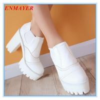 ENMAYER Ankle Boots for Women New 2014 Square Heels Women Shoes Platform pumps Martin Boots black white brown punk boots