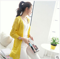 Free Shipping Sweaters 2014 Women Fashion Spring And Summer Thin Loose Pocket Hollow Cardigan  Women Sweater Jacket