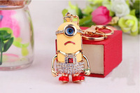 10pieces/lot Despicable ME golden key charm cute Minion Jorge Stewart Dave free ship car ornament keyrings Christmas gift