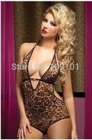 BeautyWill Women's Leopard Print Open Crotch Teddy Romper