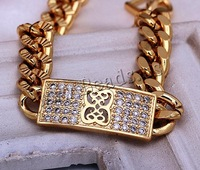Free shipping!!!Brass Bracelet,Wholesale Jewelry, 18K gold plated, curb chain & micro pave cubic zirconia, nickel