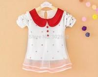 2014 summer  New Hot wholesale Children girls cotton chiffon dot decorate mini - dress .  4 pcs/ lot . free shipping