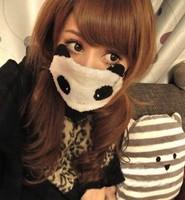 Cute panda pink rabbit with big eyes and double eye masks dust masks wholesale 19g strawberry rabbit K3157