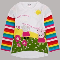 2014 Fashion Kids Clothes Spring Autumn Beautiful Peppa Pig Nova Long Sleeve Lovely Girl T-Shirts Free Shipping